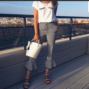 Zara black gingham Pom Pom crop pants small s